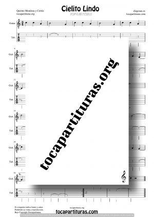 Cielito Lindo Partitura y Tablatura Fácil del Punteo de Guitarra