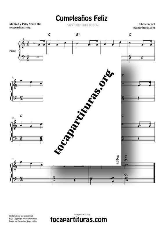 Cumpleaños Feliz Partitura PDF y MIDI de Piano en Do M