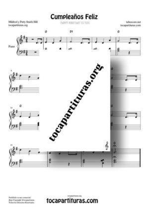 Cumpleaños Feliz Partitura de Piano Fácil en Sol Mayor