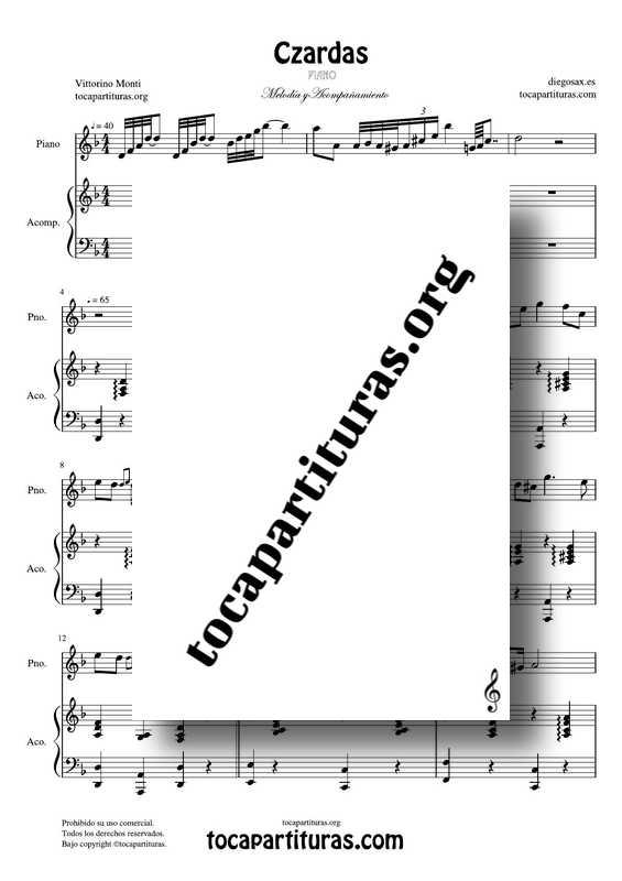 Czardas Partitura PDF MIDI KARAOKEde Piano Melodía+Acompañamiento