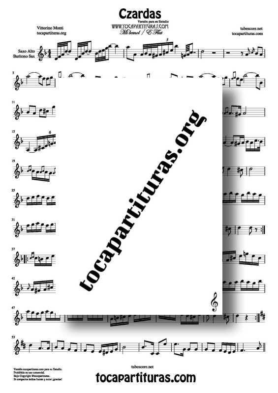 Venta PDF KARAOKE Czardas Partitura de Saxofón Alto y Barítono Tonalidad Fácil