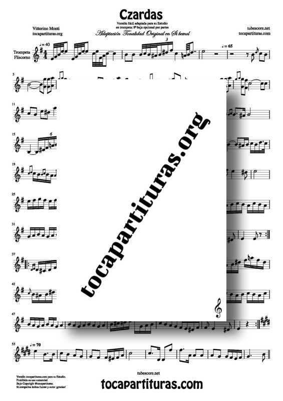 Venta Czardas Partitura de Trompeta Adaptación tocapartituras PDF KARAOKE MIDI MP3