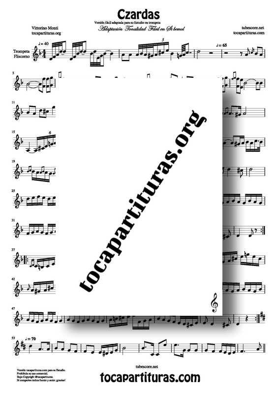 Czardas Partitura de Trompeta Adaptación tonalidad fácil tocapartituras Venta PDF MIDI KARAOKE MP3