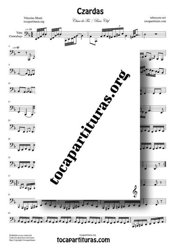 Czardas Partitura de Tuba y Contrabajo Melodía en Clave de Fa 8ª baja