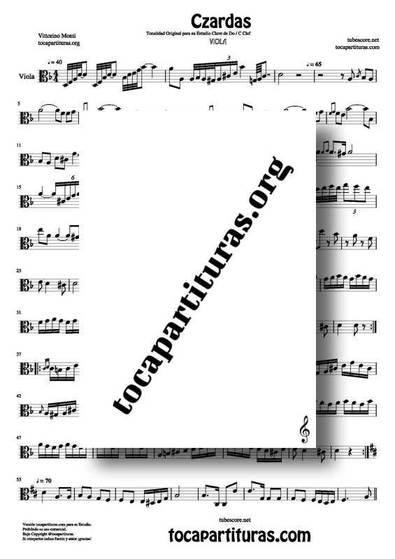 Czardas Partitura de Viola PDF karaoke midi mp3