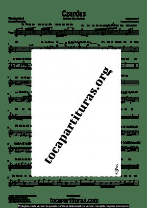 Czardas de Vittorio Monti Partitura con Notas en letra