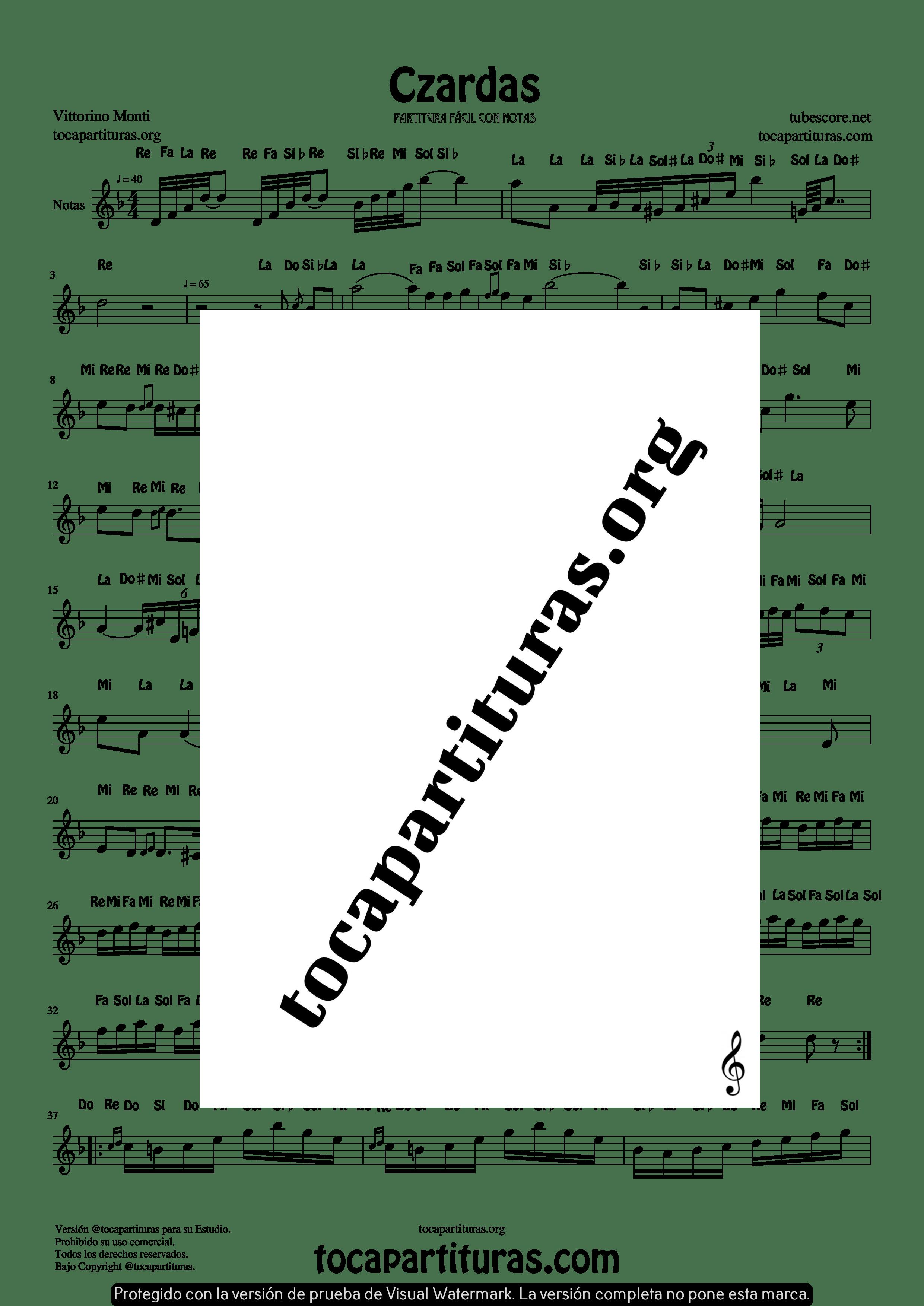 Czardas Partitura fácil con Notas para Flauta Violín Oboe PDF con Karaoke