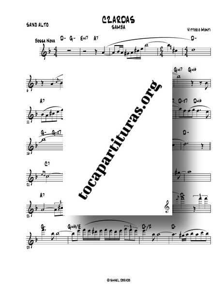 Czardas (Samba) Partitura de Saxofón Alto de Ismael Dorado Monti PDF MIDI KARAOKE