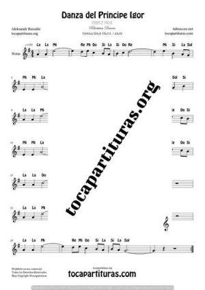 El Principe Ígor de Borodin Partitura con Notas en letra en Clave de Sol Tono Fácil