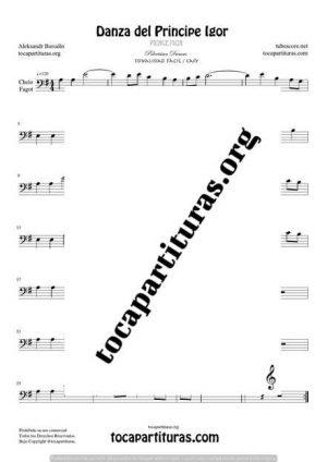 El Principe Ígor de Borodin Partitura de Chelo / Fagot (Cello/Bassoon) Tono Fácil