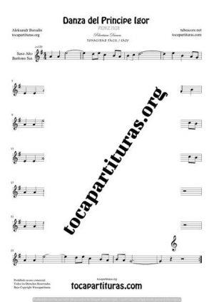 El Principe Ígor de Borodin Partitura de Saxofón Alto / Saxo Barítono Mi bemol (E Flat Saxophone) Tono Fácil
