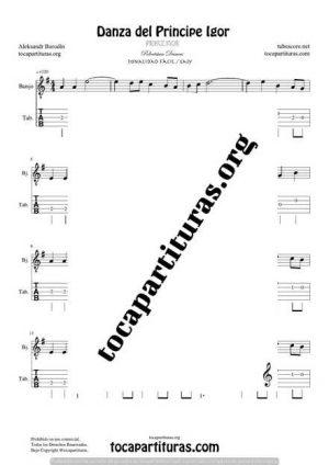 El Principe Ígor de Borodin Partitura y Tablatura de Banjo (Tabs) Tono Fácil