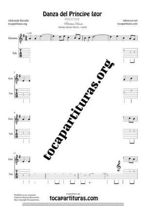 El Principe Ígor de Borodin Partitura y Tablatura del Punteo de Guitarra (Guitar Tabs) Tono Fácil