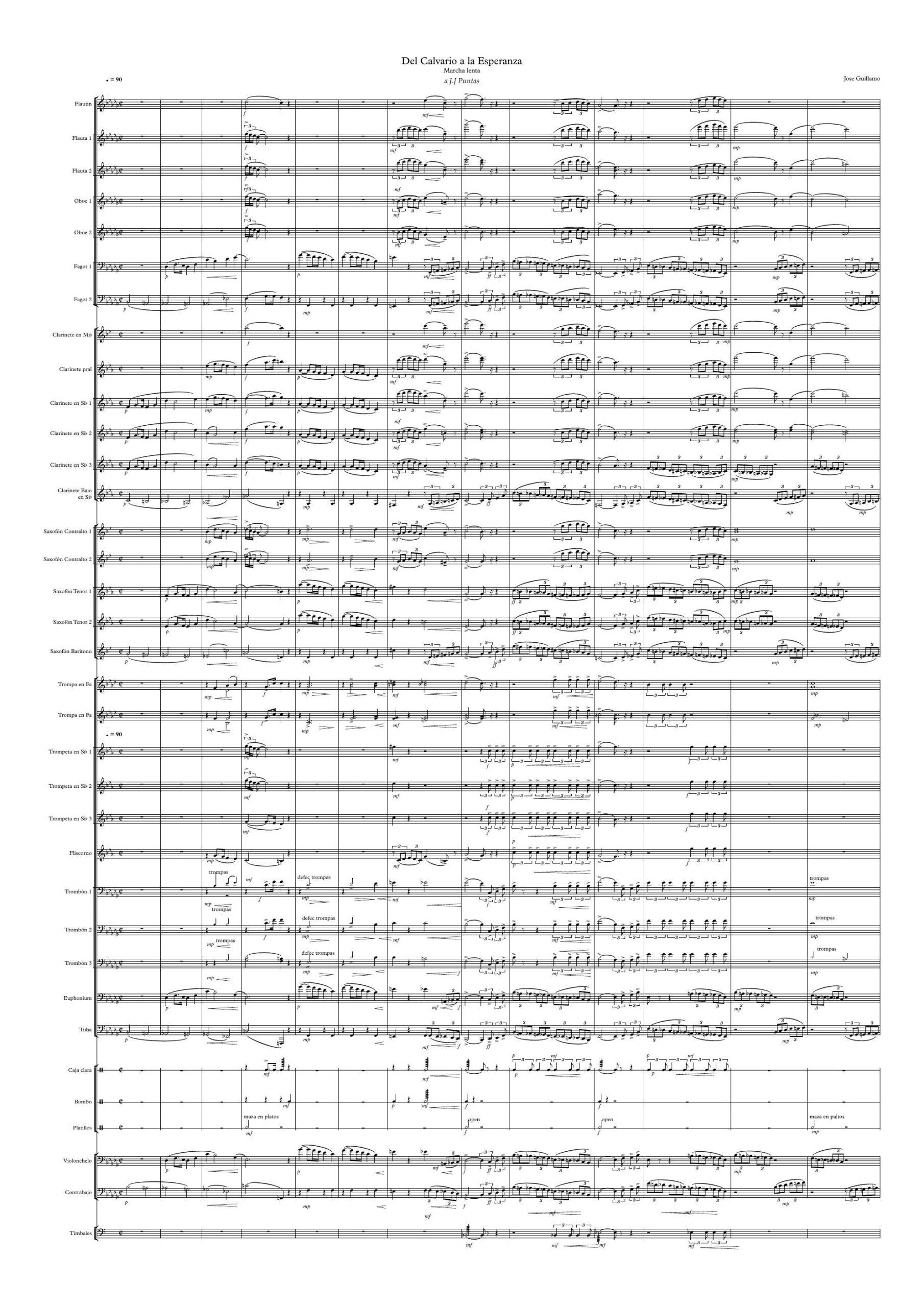Del Calvario a la Espezanza PDF Y MIDI Partitura y partes Marcha de Procesión JOSE GUILLAMO
