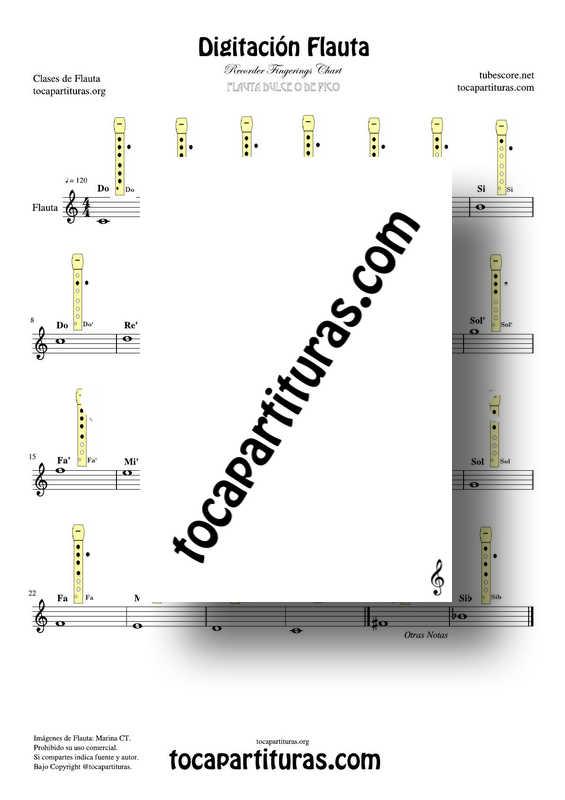 Digitación de Flauta Dulce con Notas y diagramas