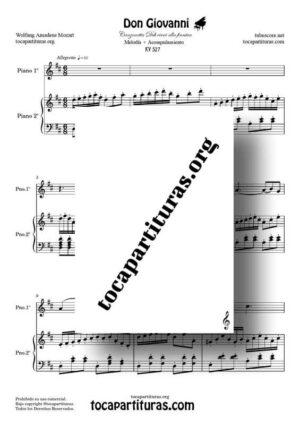 Don Giovanni K. 527 Partitura de Piano Dúo a tres Manos en Re M Melodía + Acompañamiento (Canzonetta Deh vieni alla finestra)
