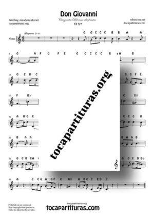 Don Giovanni K. 527 Easy Notes Sheet Music for Treble Clef (Violín, Oboe, Flute, Recorder…) in C Major (Canzonetta Deh vieni alla finestra)