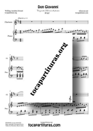 Don Giovanni K. 527 Partitura de Clarinete Re M a Dúo con Piano en Do M (Canzonetta Deh vieni alla finestra)