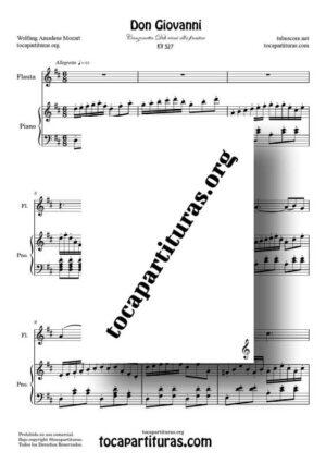 Don Giovanni K. 527 K. 525 Partitura de Flauta Travesera en ReM a dúo con Piano (Canzonetta Deh vieni alla finestra)