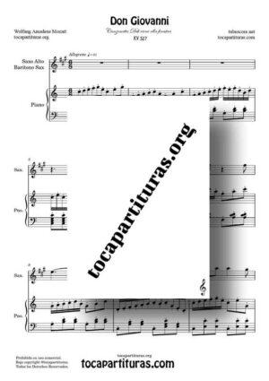 Don Giovanni K. 527 Partitura de Saxofón Alto / Saxo Barítono La M a Dúo con Piano Do M (Canzonetta Deh vieni alla finestra)