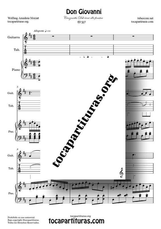 Don Giovanni Partitura Dúo Tabs de Guitarra y Piano Canzonetta Deh vieni alla finestra Re M JPG