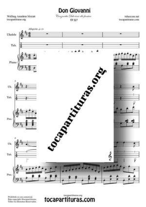 Don Giovanni K. 527 Partitura y Tablatura de Ukelele a Dúo con Piano ReM (Canzonetta Deh vieni alla finestra)