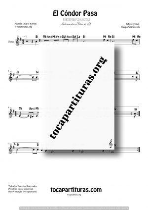 El Cóndor Pasa Partitura Fácil con Notas en Clave de Sol