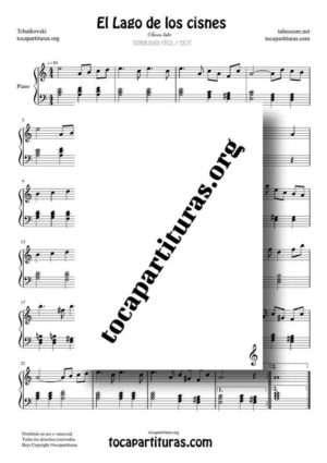 El Lago de los Cisnes (Swan Lake) de Tchaikovsky Partitura PDF y MIDI de Piano Fácil en La menor (Am)