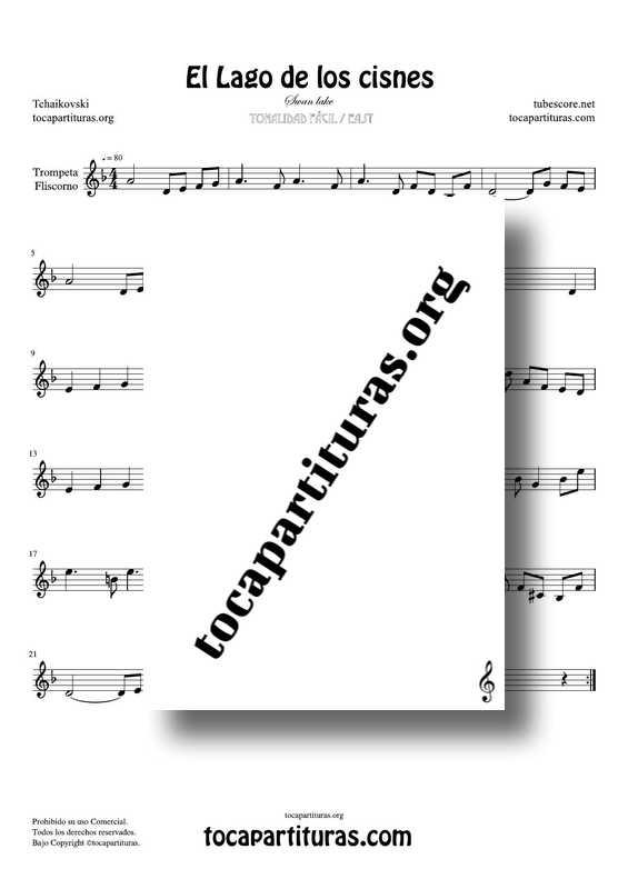 El Lago de los Cisnes (Swan Lake) de Tchaikovsky Partitura PDF y MIDI de Trompeta / Fliscorno (Trumpet / Flugelhorn) en Re menor