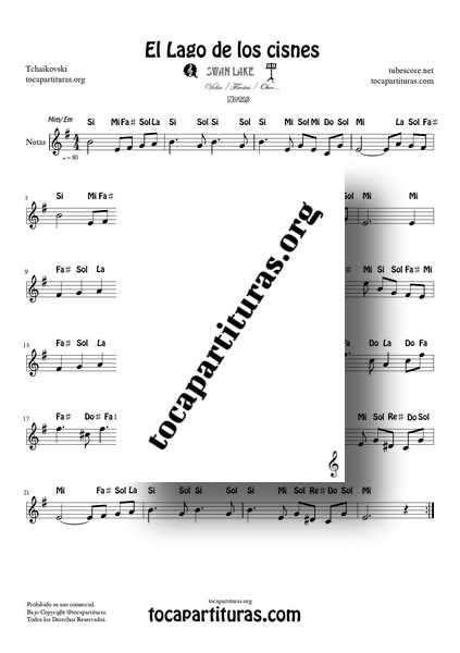 El Lago de los Cisnes Partitura Fácil con Notas en MI menor