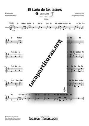 El Lago de los Cisnes (Swan Lake) de Tchaikovsky Partitura con Notas en Mi menor