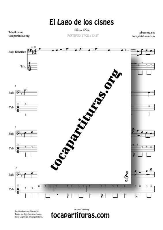 El Lago de los Cisnes (Swan Lake) de Tchaikovsky PDF y MIDI Partitura y Tablatura del Punteo de Bajo Eléctrico (Electric Bass) en Re menor