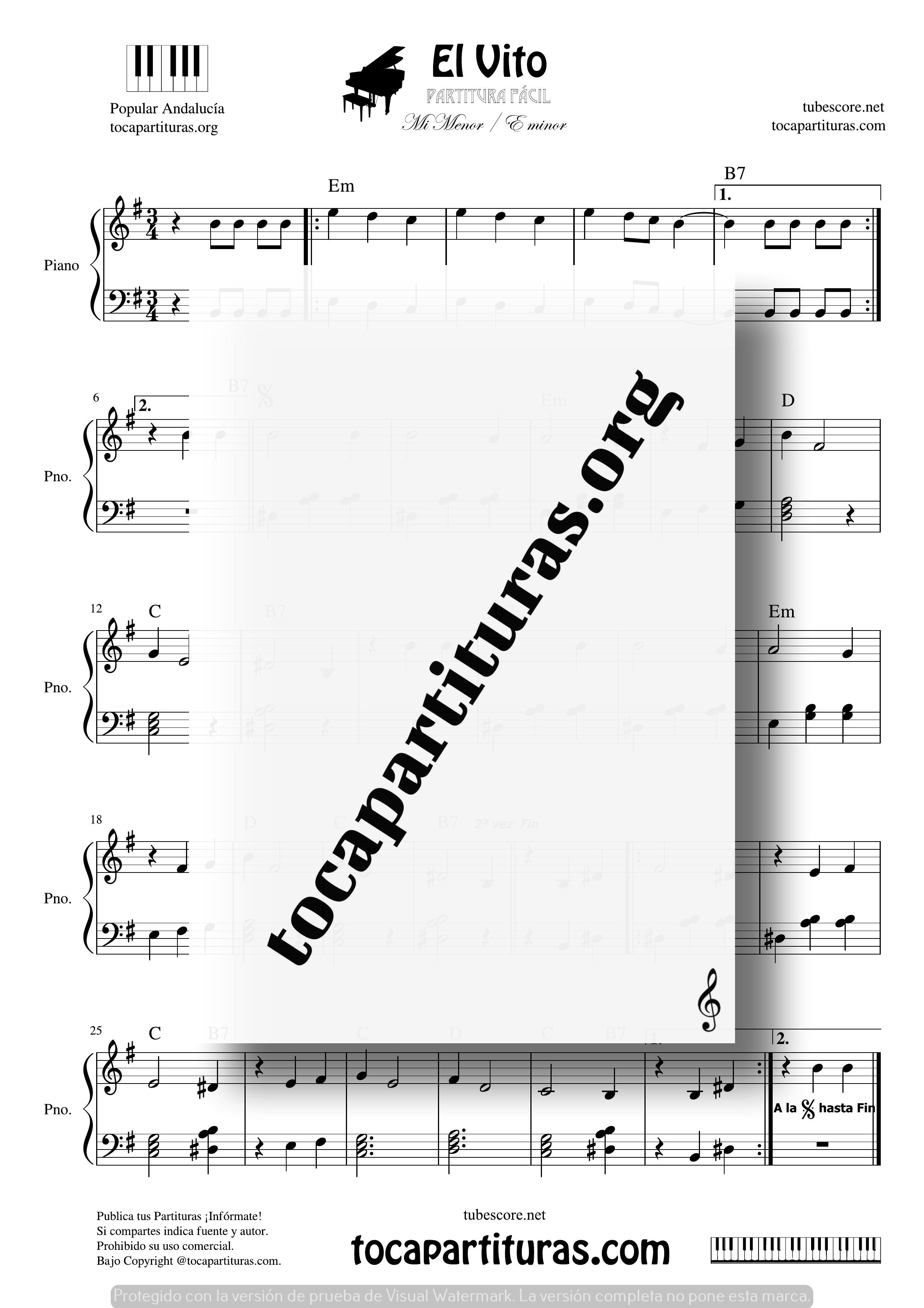 El Vito Partitura PDF y MIDIde Piano Fácil Mi menor con Acordes