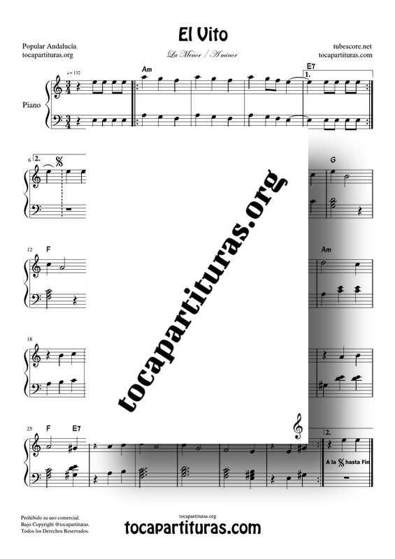 El Vito Partitura PDF y MIDI de Piano Fácil con Acordes en La m