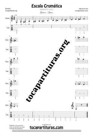 Escala Cromática en Guitarra Partitura y Tablatura del Punteo de Guitarra (Guitarra Tabs)