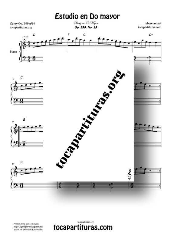Estudio Fácil para Piano Nº3 Partitura PDF y MIDI para Piano Fácil Easy Etude Nº3 for Piano Beginners