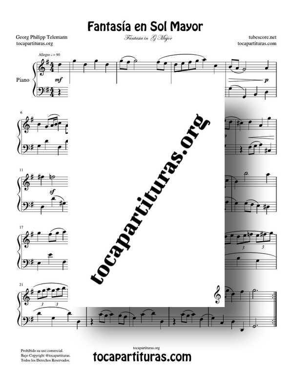 Fantasia en Sol Mayor de Telemann Partitura PDF y MIDI de Piano