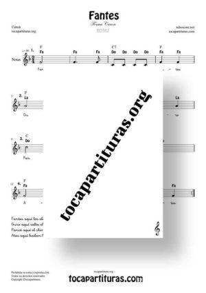 Fantes Forma Canon Partitura con Notas en Clave de Sol (Popular Infantil)