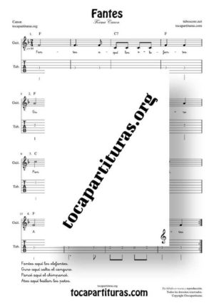 Fantes Forma Canon Partitura Tablatura de Guitarra (Guitar Tabs)