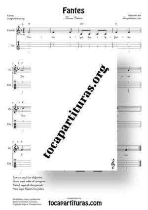 Fantes Forma Canon Partitura y Tablatura de Ukelele (Tabs)