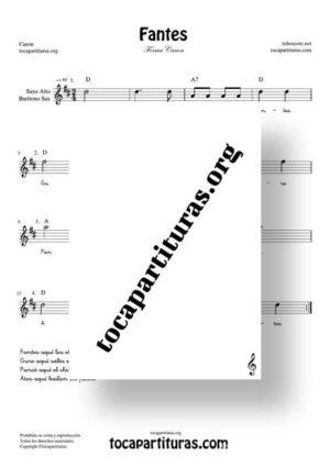 Fantes Forma Canon Partitura de Saxofón Alto / Saxo Barítono (Saxophone Eb)