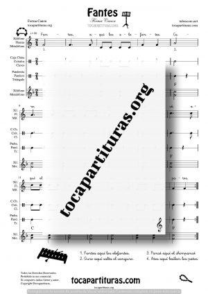 Fantes Partitura de Xilófono INFANTIL Pandero Triángulo Metalófonos y Pequeña Percusión
