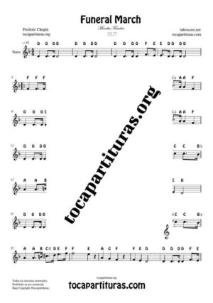 Funeral March by Chopin Notes Sheet Music for Treble Clef (Violín, Oboe, Flute, Recorder…)