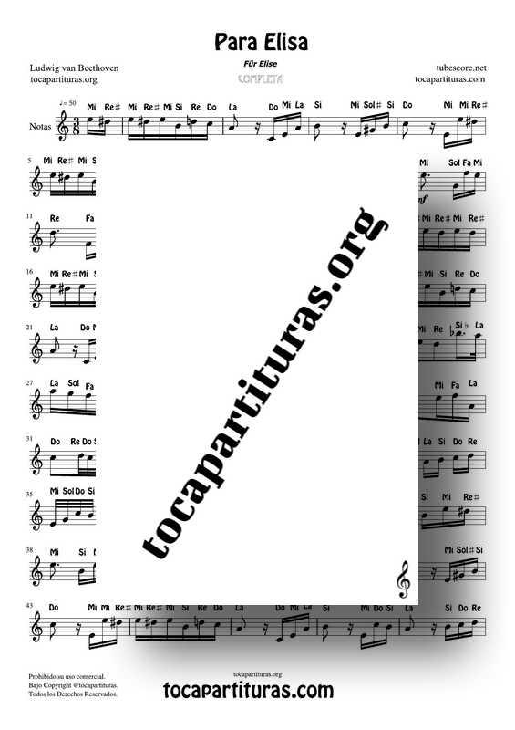 Fur Elise (Para Elisa) PDF MIDI Partitura con Notas en letra Completa Tono Original La m