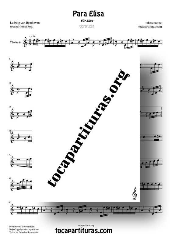 Fur Elise (Para Elisa) PDF MIDI Partitura de Clarinete Completa Tono La m