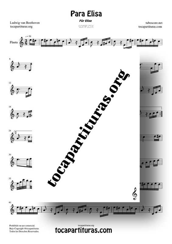 Fur Elise (Para Elisa) PDF MIDI Partitura de Flauta Travesera Completa Tono Original Lam