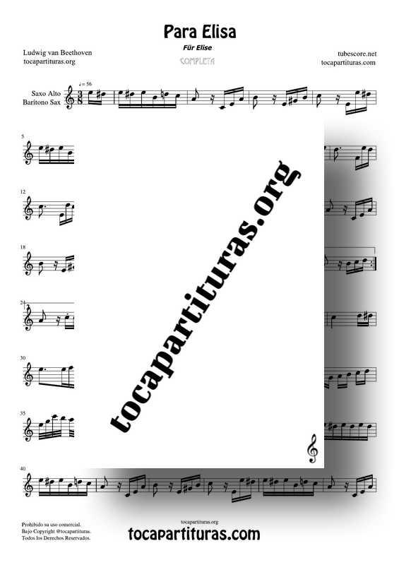 Fur Elise (Para Elisa) PDF MIDI Partitura de Saxofón Alto y Barítono Sax Completa Tono Original La m