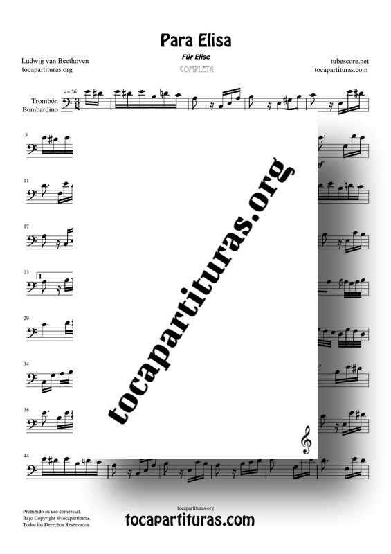 Fur Elise (Para Elisa) PDF MIDI Partitura de Trombón y Bombardino Completa Tono Original La m