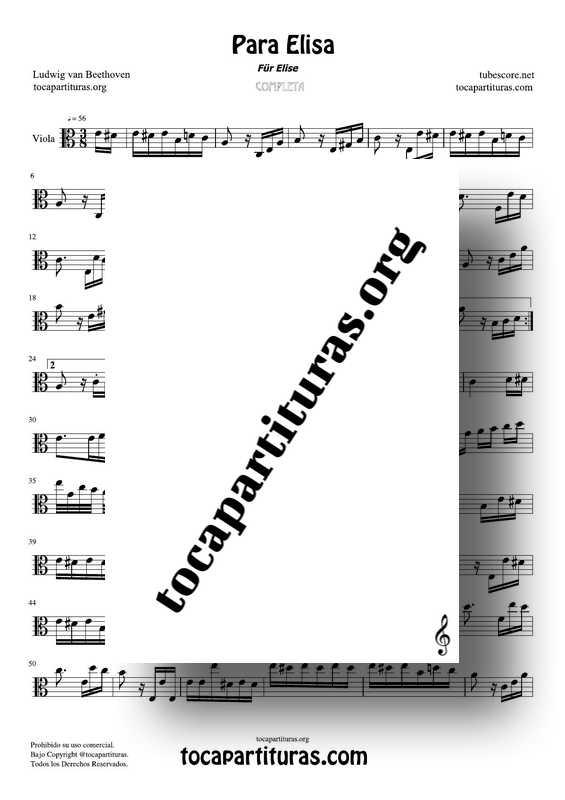 Fur Elise (Para Elisa) PDF MIDI Partitura de Viola Completa Tono Original La m
