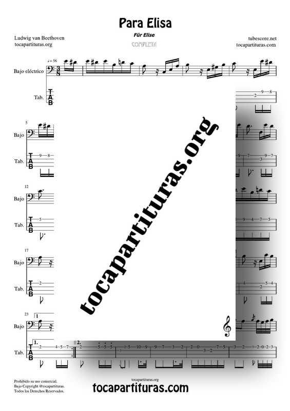 Fur Elise (Para Elisa) PDF MIDI Partitura y Tablatura del Punteo de Bajo Eléctrico Completa Tono Original La menor Electric bass
